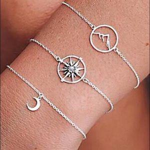 Jewelry - Mountain, Compass, Moon 🌙 3 pc Bracelet Set